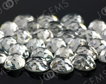 White Topaz Honeycomb Faceted Oval Cabochon 8x10mm FLAT BACK- 1 cab