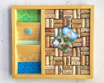 Organizer Wine Cork Board with Pockets for Envelopes and Hangers for Keys