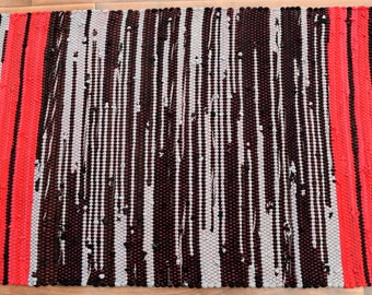 Handwoven Rug-27x48 woven from Recycled T Shirts: Grey, Black, Red.  Washable & Reversible