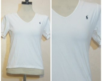 90s White Polo Shirt XS Small Ralph Lauren Throwback Wavvy Hip Hop