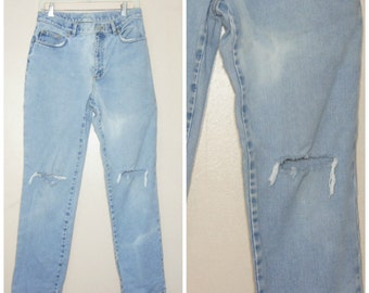 90s Ripped Knee Jeans High Waisted Mom Jeans 28 Medium
