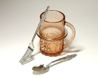 Vintage Silver Plated Mr. Peanut Fork and Spoon - circa 1940's