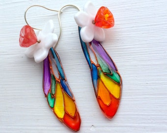 Dragonfly Wing Floral Earrings