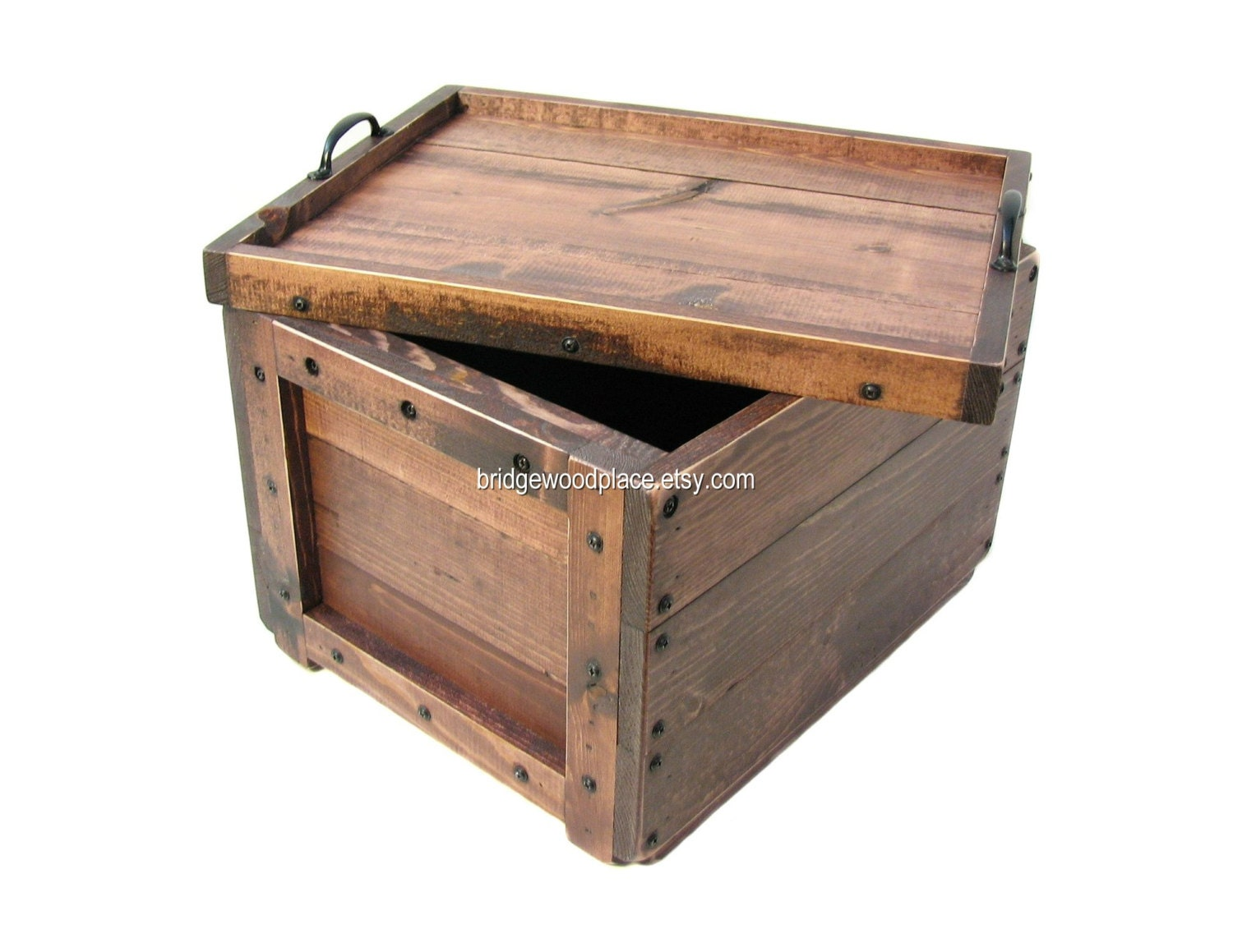 Lidded Wood Crate Wooden Box With Lid Keepsake By Bridgewoodplace