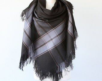 Wool Blanket Scarf Black and gray blanket shawl Large Oversized wrap Fringe shawl Plaid scarf Winter accessories Holiday Christmas gift
