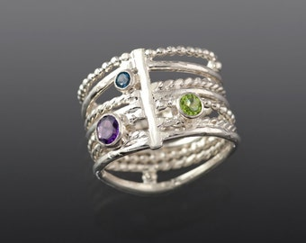 Birch Tree Sterling Silver Peridot Amethyst and Blue Topaz, Multi gemstone Wide Ring