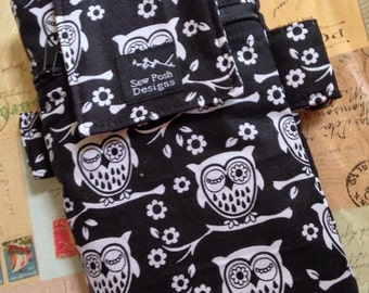 White Black Owls Fabric Iphone Galaxy Armband Washable Gadget Cell Phone Case Sports Pouch Waterproof Lining