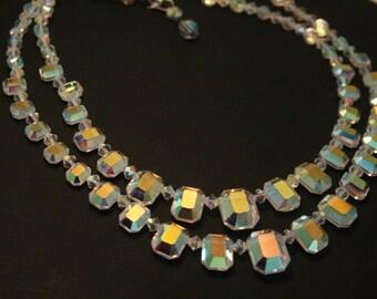 Vintage crystal bead necklace. 2 row necklace. 2 strand necklace.  Aurora borealis
