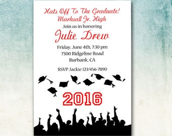 Graduation Invitation, School Colors, DIY Party Printable, Customized, Flying Mortarboards, Matching Invitation, School Name, Toss Your Hat