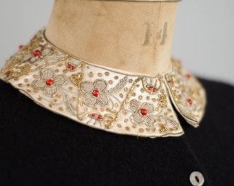 50s Beaded Collar - Vintage 1950s Silk Collar - Study Abroad Collar