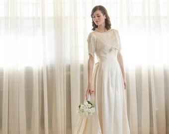 60s Satin Wedding Dress - Vintage 1960s Wedding Gown - Heart of Gold Wedding Gown