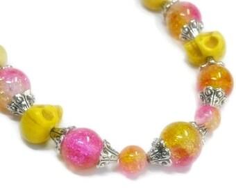 Skull Necklace, Day of the Dead, Dia de los Muertos, Pink, Yellow, Beaded Skull Jewelry, Whimsy, Southwest, Festive, Rocker, Neon