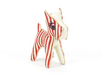 vintage 1950s striped vinyl dog plush toy