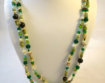 Vintage Green Bead Necklace  56 inches Hangs 28 inchesLong Bead Necklace 1960's Bohemian Style Glass + Mixed Beads Lightweight