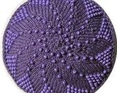 Purple on Purple Swirly Beaded Kippah