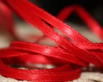 """Red Ribbon 1/8"""" Sold By 7 Yards"""