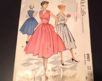 Vintage 1950s Junior Misses' Full Skirt Dress and Midriff FACTORY FOLDED