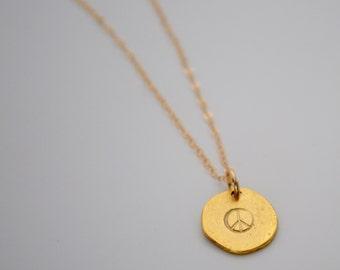 Peace Sign Necklace,  Gold Peace Sign Necklace, Stamped Peace Sign Necklace, Penelope