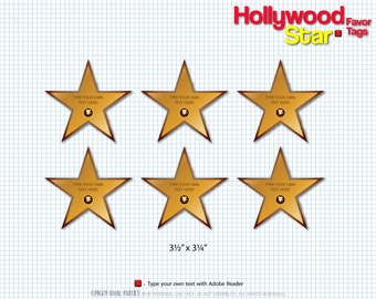 Hollywood Star Favor Tags : Print at Home Walk of Fame Gift Tag | Movie Star | Red Carpet Premiere Thank You Digital File | Instant Download