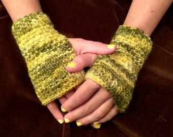 Fingerless gloves- knit chartreuse green