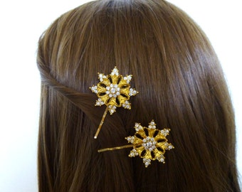 Winter Wedding Accessories Bridal Hair Clips Bridesmaid Bobby Pins Snowflake Bride Christmas Holidays Accessories Unique Womens Gift For Her