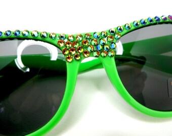 Neon Green Wayfarer Sunglasses With Vitrial Green Iridescent Crystal Rhinestones