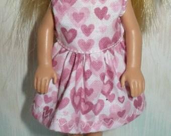 "Handmade 5.5"" little sister fashion doll clothes -pink  hart print dress"