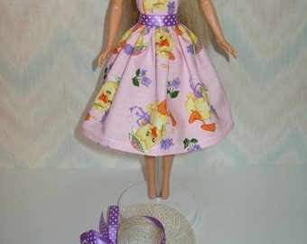 "Handmade 11.5"" fashion doll Clothes - Pink, orchid and yellow chick Easter dress and hat"