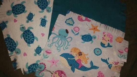Baby Flannel Fabric Rag Quilt Kit Mermaid Turtle Sea Life