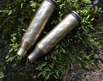 Etched Bullet Shells and Casings, Spent Casings, Ammunition, Steampunk Jewelry Components
