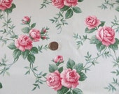 Waverly Tea Rose Fabric-Decor-Drapery-Mint Background with Pink Roses-2 yards-BTY