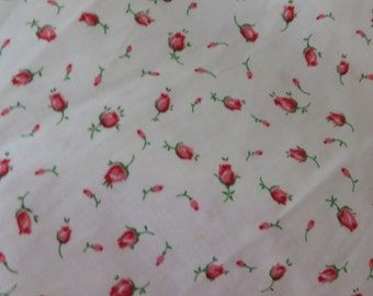 Vintage Cotton Percale Fabric-Pink Rosebuds