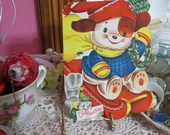 Vintage Retro Mid Century Christmas Greeting Card-Sledding Puppy-Unused-Childrens