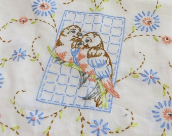 Vintage Hand Embroidered Runner with Blue Birds-Sparrow-Finch