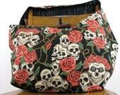 SKULL BAG - Crossbody Bag - Goth Bag - Skull and Roses - Over Shoulder Bag - Hippie Bag - Hobo Bag - Large Bag - Skull Purse - Vegan Bag