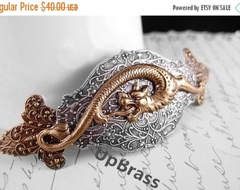 Sea Dragon-Victorian style ornate fleur de lis barrette-Made in France Barrette