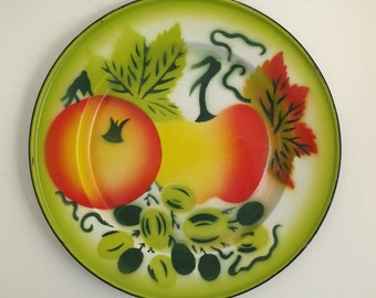 Vintage Enamelware Plate with Fruit Design