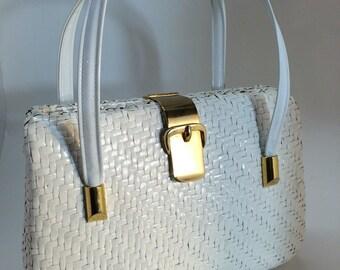 Vintage Purse - White Wicker Handbag by Walborg