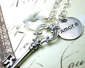 ON SALE Amore is the Key to Life Necklace - Reversible Pendant - Vintage Key Pendant - Sterling Silver and Swarovski Crystal