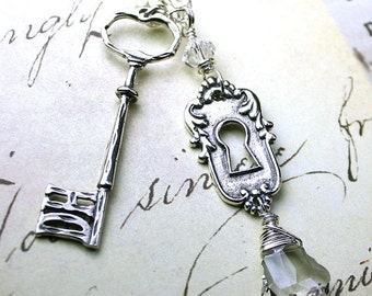 ON SALE Vintage Lock and Key Necklace - All sterling Silver and Swarovski Crystal
