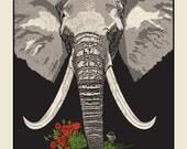 Elephant with Roses silkscreen