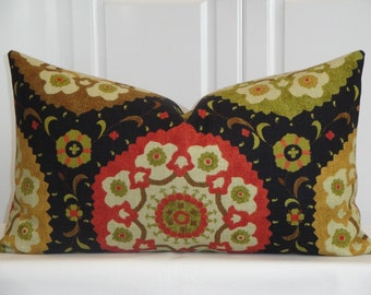 Decorative Pillow Cover - 14 x 24 - Accent Pillow - Throw Pillow - Red Suzani - Yellow Brown Olive Cover