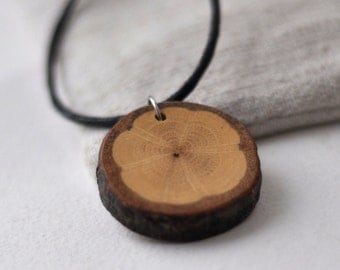 White Oak Wood  •  Wooden Necklace • Wooden Pendant