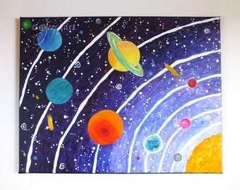 Solar System #14, 20x16 inch acrylic painting on gallery wrapped canvas, art for kids