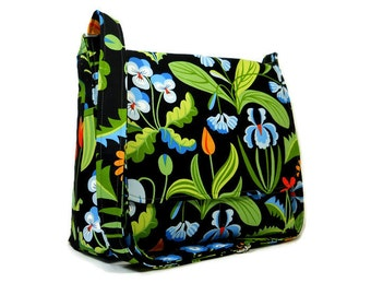 Black Floral Purse, Women's Messenger Bag, Medium Crossbody Bag, Fabric Cross Body Purse, Cotton Shoulder Bag, Colorful Pocketbook, Handbag