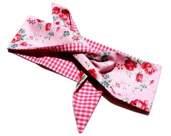 Vintage Inspired Reversible Headscarf, Pink Rose, Gingham, Retro, 1950s