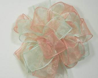 Wedding/ Pew Bows set of 10, Mint and rose coral