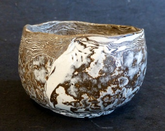 Nerikomi/Neriage Chawan Japanese Style Tea Bowl Hand Formed White and Chocolate Brown Bluffton artist George Watson