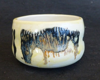 Porcelain Teabowl Pale Yellow/White with Black, Brown, Gray Imagery George Watson Chawan Matcha Green Tea