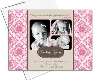 Printable baby girl birth announcement photo cards | pink and brown damask | multiple photo new baby cards | DIY digital file - WLP00223